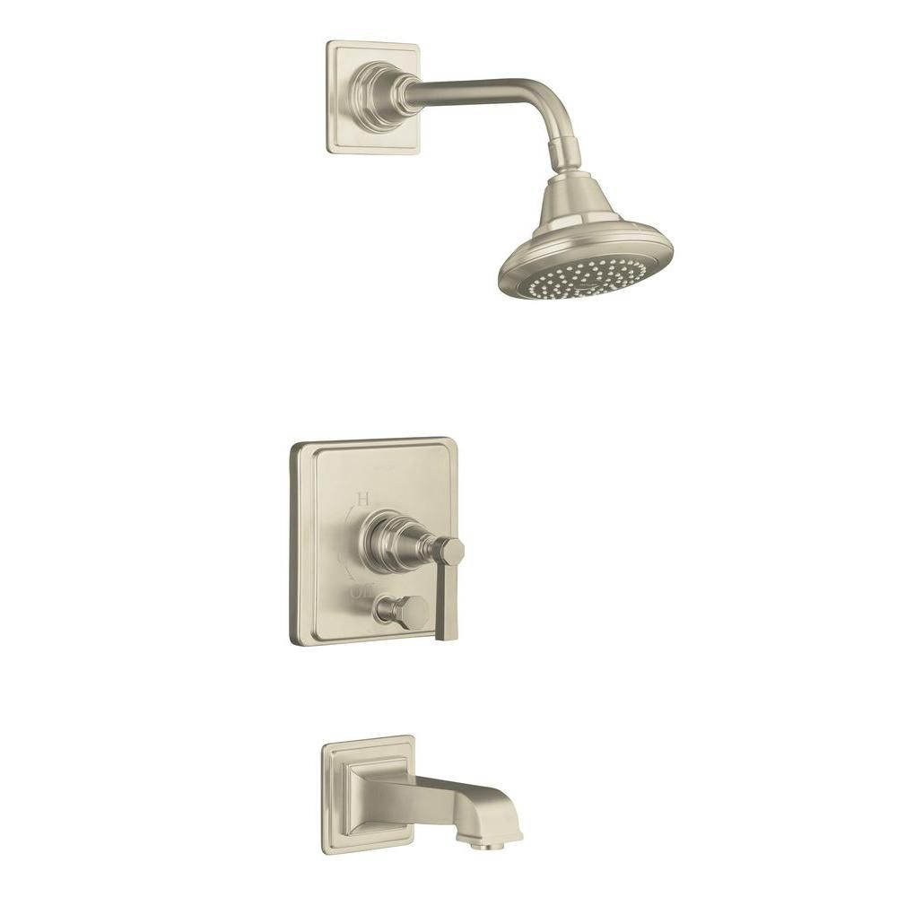 Pinstripe Pure Rite-Temp Pressure-Balancing Bath/Shower Faucet in Vibrant Brushed Nickel