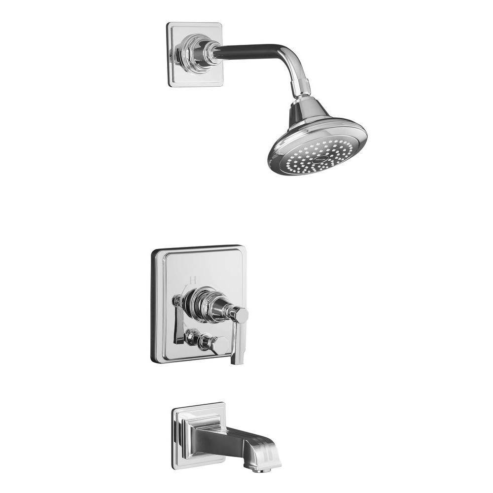 Pinstripe Rite-Temp Pressure-Balancing Bath/Shower Faucet in Polished Chrome