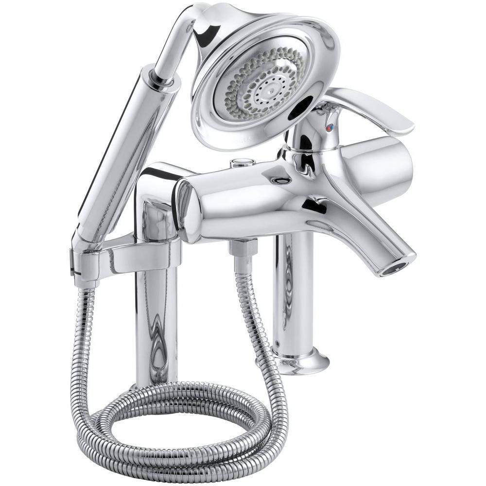 Symbol Bath Faucet with Hand Shower in Polished Chrome