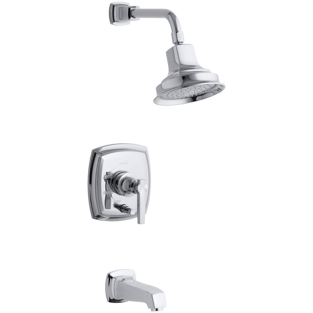 Garniture de robinet pour bain et douche de la collection Margaux Rite-temp, avec poignée à volan...