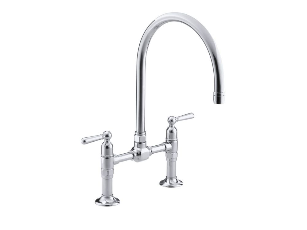 KOHLER Hirise Stainless Deck Mount Bridge Kitchen Faucet In Polished Stainless