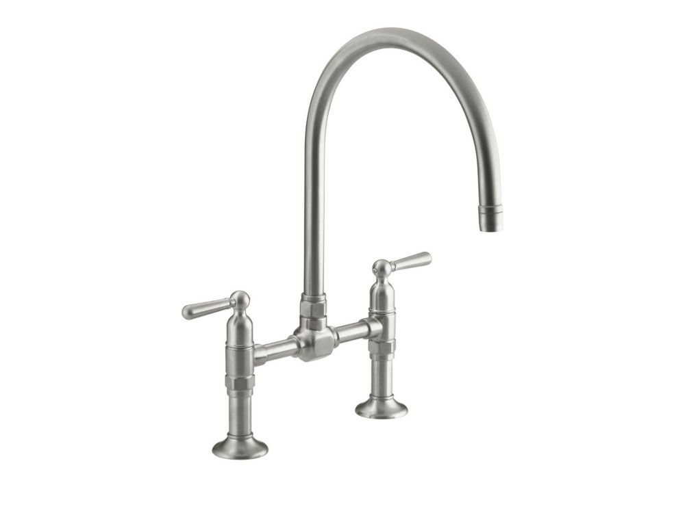 Hirise Stainless Deck Mount Bridge Kitchen Faucet In Brushed Stainless