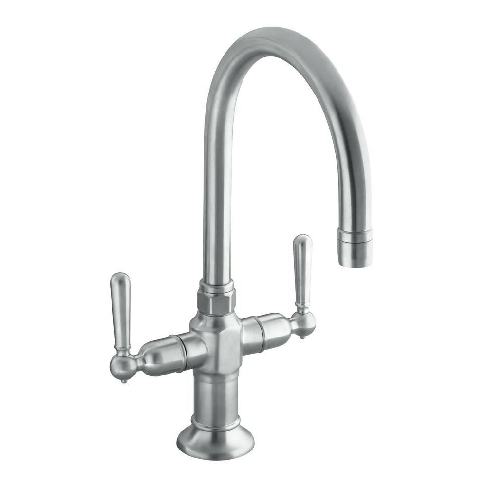 Hirise Stainless Two Handle Bar Sink Faucet In Brushed Stainless
