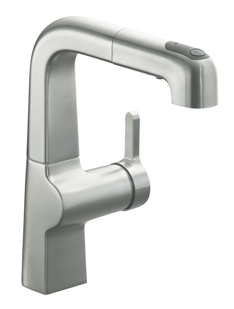 Evoke Single Control Pullout Secondary Kitchen Faucet In Vibrant Stainless