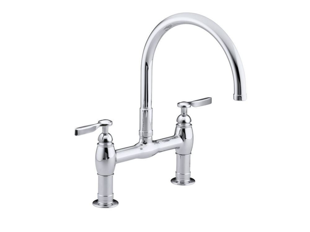 Parq Deck-Mount Kitchen Bridge Faucet In Polished Chrome