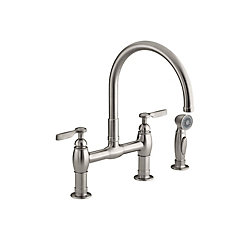 KOHLER Parq Deck-Mount Kitchen Faucets With Spray In Vibrant Stainless