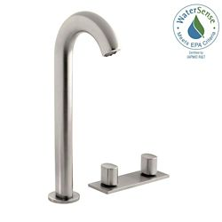 KOHLER Oblo Tall Widespread 2-Handle Bathroom Faucet in Vibrant Brushed Nickel Finish