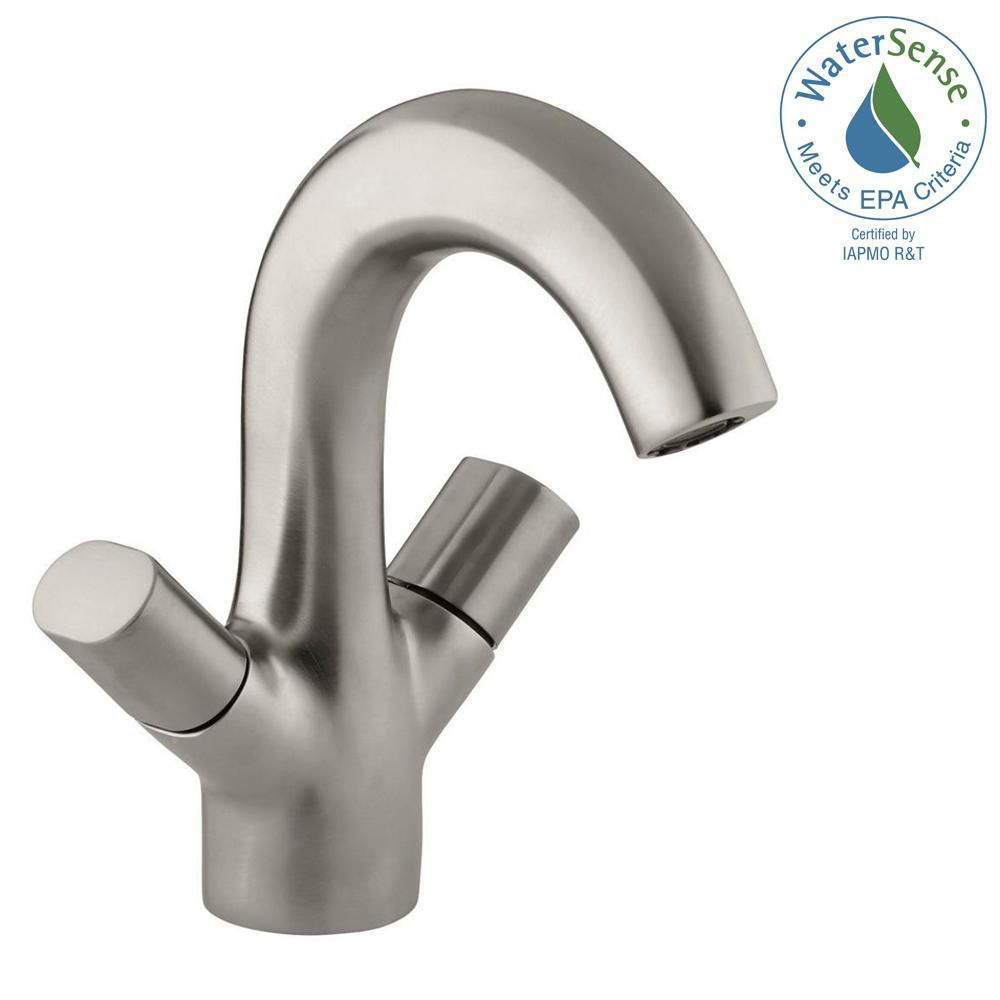 Oblo 2-Handle Monoblock Bathroom Faucet in Vibrant Brushed Nickel Finish