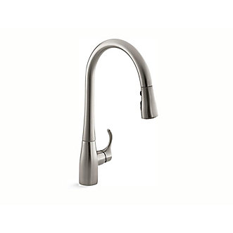 faucet simplice asp out kohler finish tap mixer polished p pull kitchen