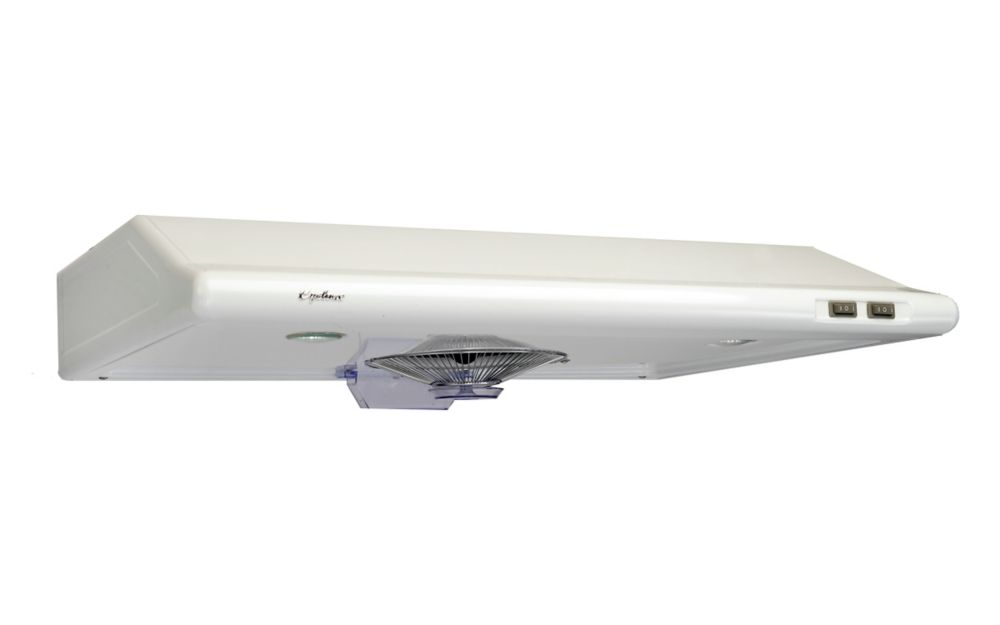 Cyclone hotte undermount, CYS1000R en blanc et en 24 po largeur, retangulaire conduits