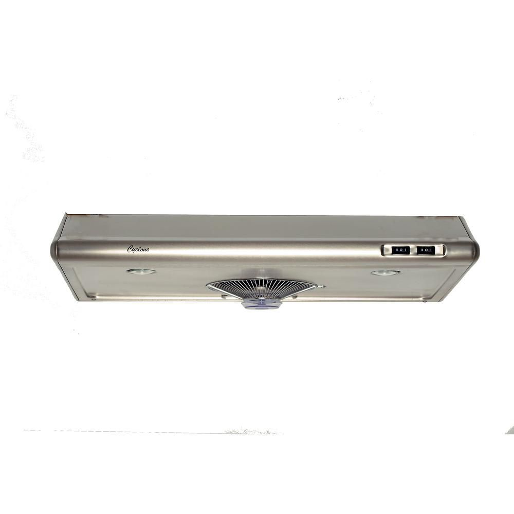 Cyclone 24-inch Undermount Range Hood with Rectangular Ducting in Stainless Steel