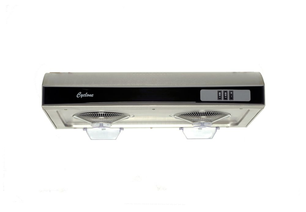 Cyclone 30-inch Twin Turbo Fan Undermount Range Hood with Rectangular Ducting in Stainless Steel