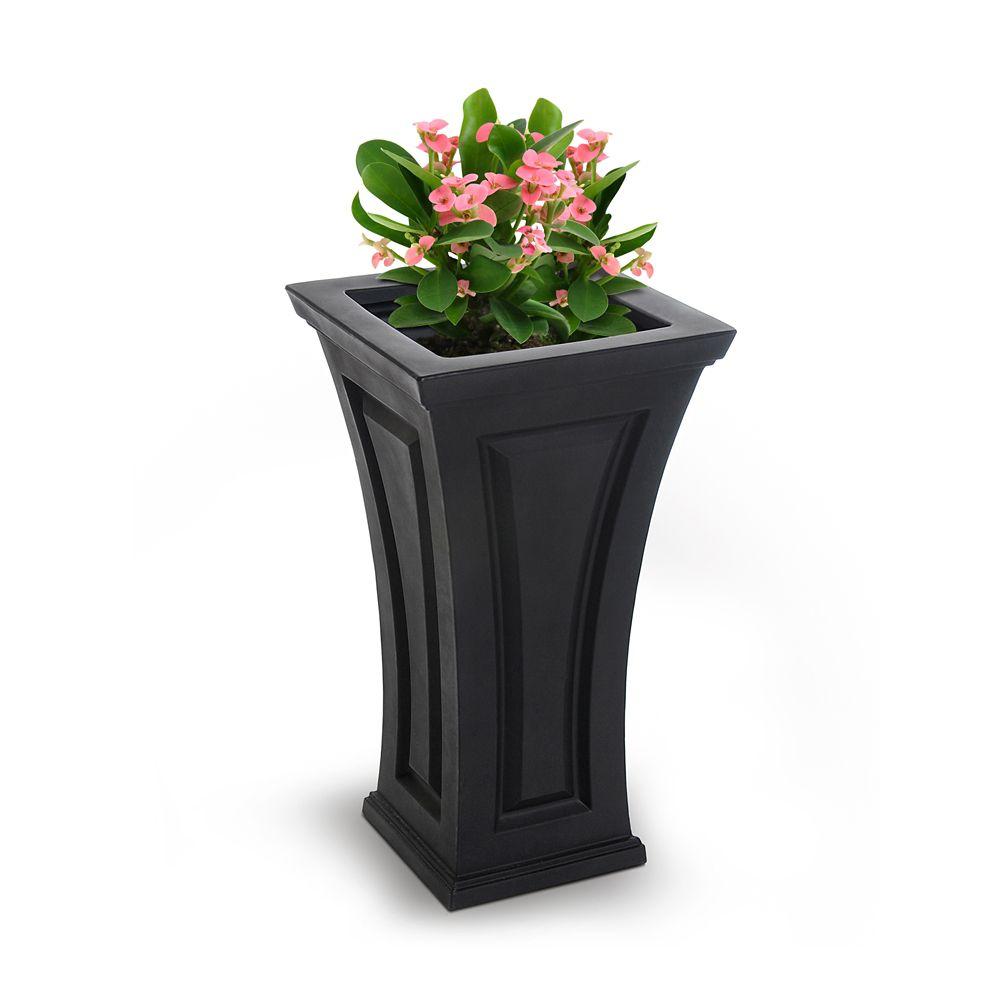 Mayne Cambridge 16-inch Square Black Plastic Column Planter