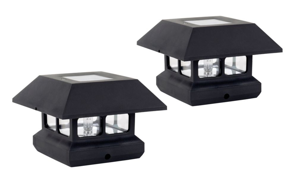 Fusion Solar Fence Post Lights 2 Pack The Home Depot
