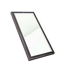 2 ft. x 4 ft. Fixed Curb Mount Clear Glass Skylight with Brown Cap