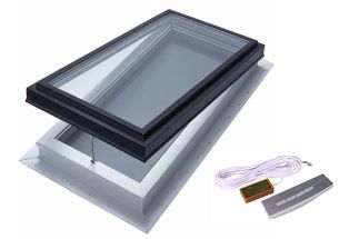 Venting Electric Deluxe Self Flashing LoE3 Clear Glass Skylight - 2 Ft x 4 Ft