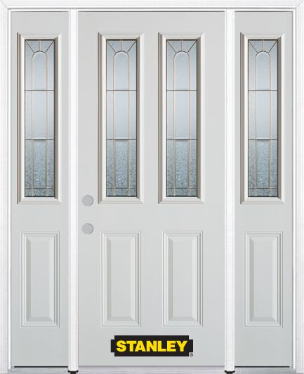 66-inch x 82-inch Elisabeth 2-Lite 2-Panel White Steel Entry Door with Sidelites and Brickmould