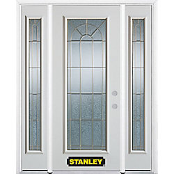 Stanley Doors Porte dentrée en acier préfini en blanc, munie d'un panneau de verre, 68 po x 82 po avec panneaux latéraux et moulure de brique