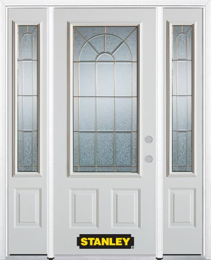 66-inch x 82-inch Elisabeth 3/4-Lite 2-Panel White Steel Entry Door with Sidelites and Brickmould