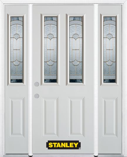 Stanley Doors 68.5 inch x 82.375 inch Radiance Brass 2-Lite 2-Panel Prefinished White Right-Hand Inswing Steel Prehung Front Door with Sidelites and Brickmould