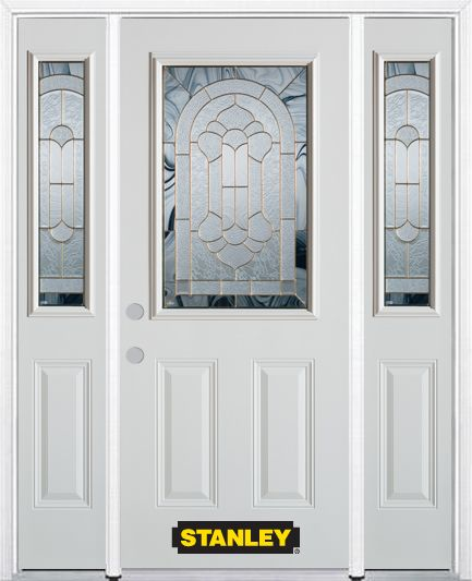 64-inch x 82-inch Radiance 1/2-Lite 2-Panel White Steel Entry Door with Sidelites and Brickmould