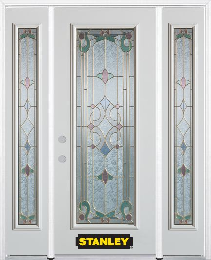 66-inch x 82-inch Aristocrat Full Lite Finished White Steel Entry Door with Sidelites and Brickmo...