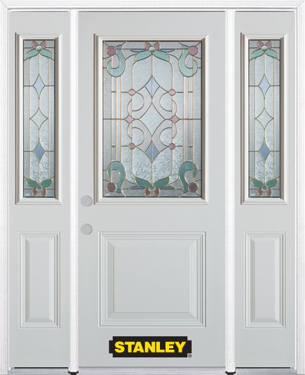 68-inch x 82-inch Aristocrat 1/2-Lite 1-Panel White Steel Entry Door with Sidelites and Brickmoul...
