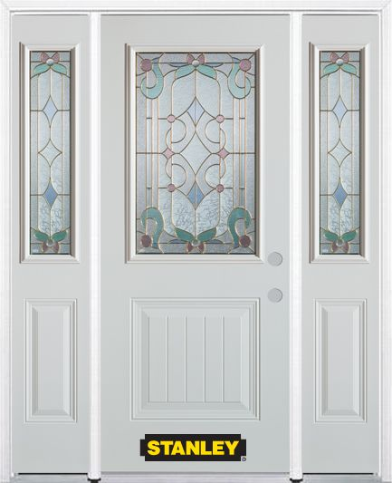 64-inch x 82-inch Aristocrat 1/2-Lite 1-Panel White Steel Entry Door with Sidelites and Brickmoul...