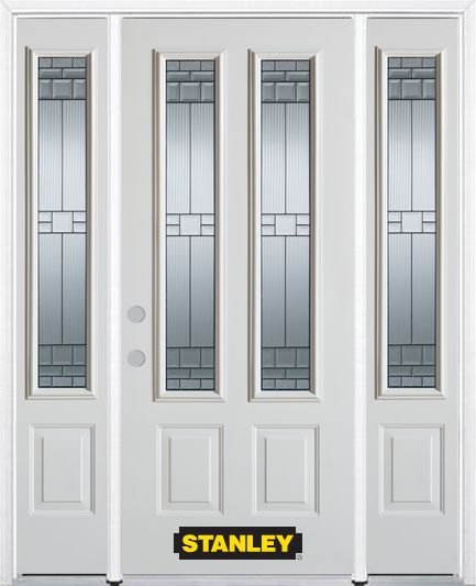 66-inch x 82-inch Seattle 2-Lite 2-Panel White Steel Entry Door with Sidelites and Brickmould
