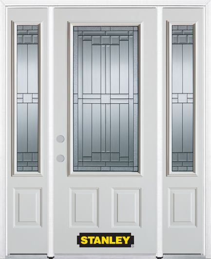 66-inch x 82-inch Seattle 3/4-Lite 2-Panel White Steel Entry Door with Sidelites and Brickmould