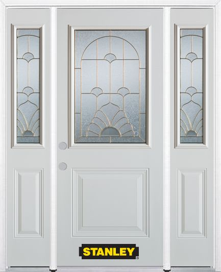 64-inch x 82-inch Florentine 1/2-Lite 1-Panel White Steel Entry Door with Sidelites and Brickmoul...