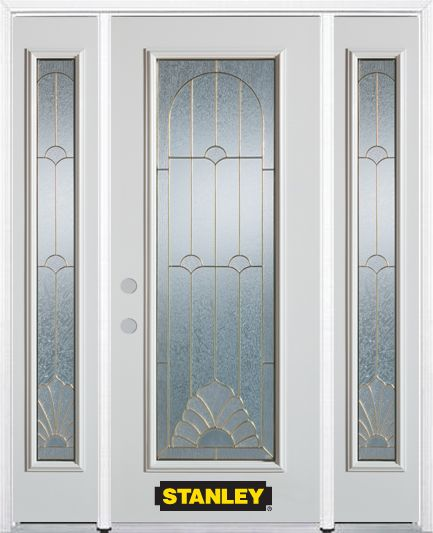 68-inch x 82-inch Florentine Full Lite Finished White Steel Entry Door with Sidelites and Brickmo...