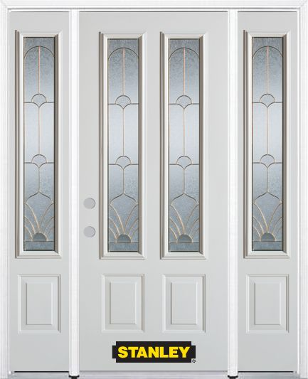 68-inch x 82-inch Florentine 2-Lite 2-Panel White Steel Entry Door with Sidelites and Brickmould