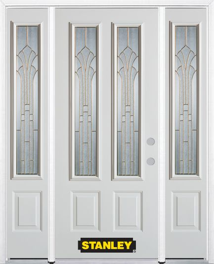 64-inch x 82-inch Gladis 2-Lite 2-Panel White Steel Entry Door with Sidelites and Brickmould