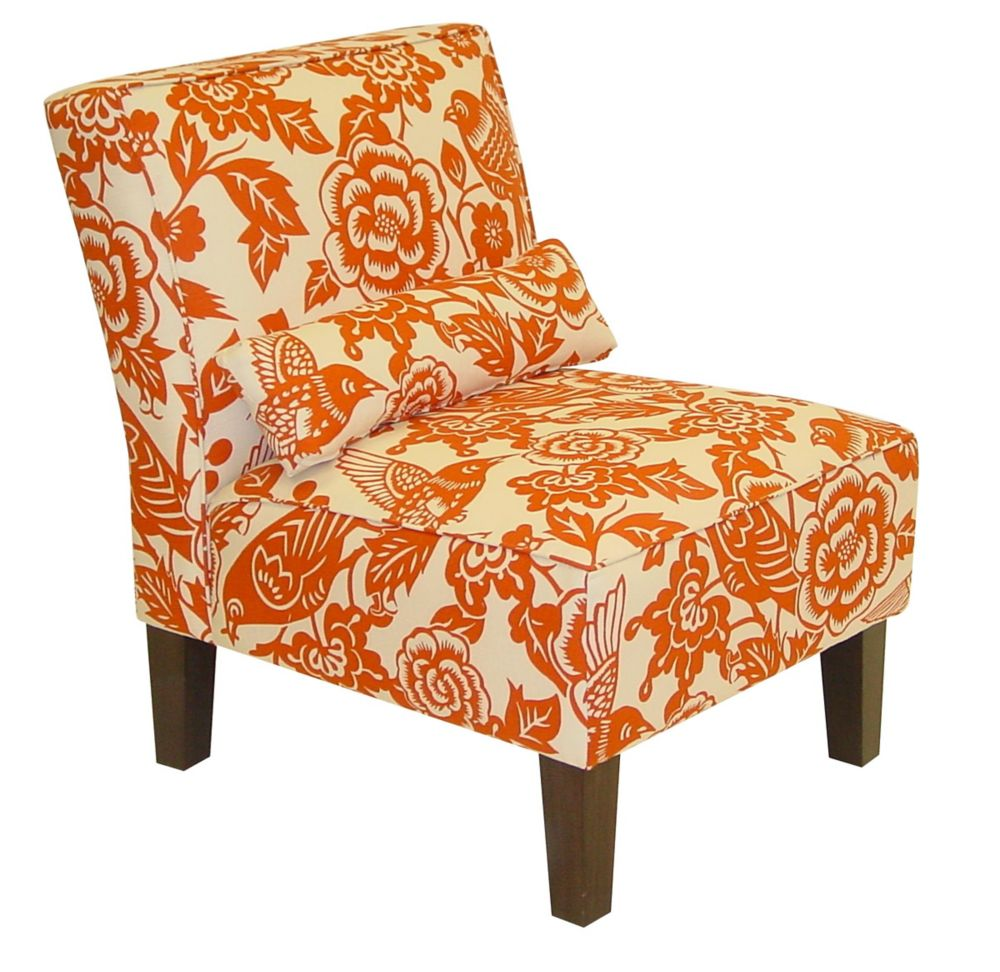 Armless Chair in Canary Tangerine