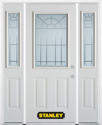 68-inch x 82-inch Chablis 1/2-Lite 2-Panel White Steel Entry Door with Sidelites and Brickmould