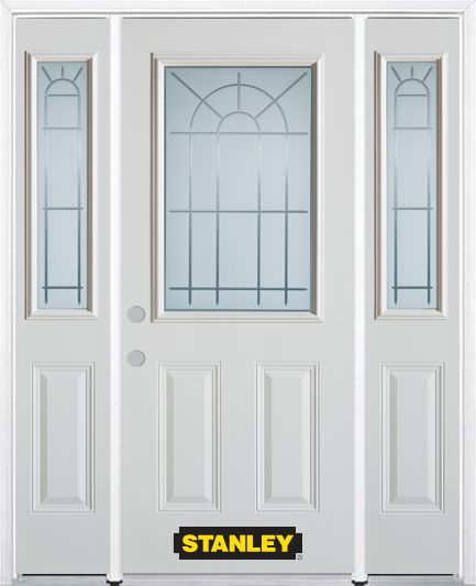 66-inch x 82-inch Chablis 1/2-Lite 2-Panel White Steel Entry Door with Sidelites and Brickmould