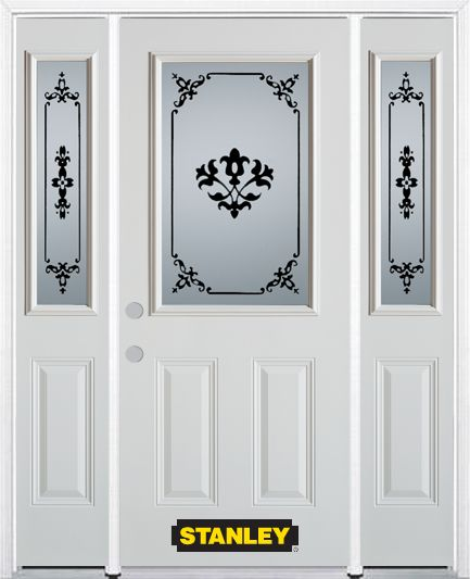 Stanley Doors 66.5 inch x 82.375 inch Renoir 1/2 Lite 2-Panel Prefinished White Right-Hand Inswing Steel Prehung Front Door with Sidelites and Brickmould
