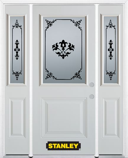 68-inch x 82-inch Renoir 1/2-Lite 1-Panel White Steel Entry Door with Sidelites and Brickmould