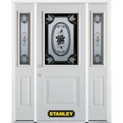STANLEY Doors 66.5 inch x 82.375 inch Mâtisse 1/2 Lite 1-Panel Prefinished White Right-Hand Inswing Steel Prehung Front Door with Sidelites and Brickmould