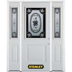 Stanley Doors 68.5 inch x 82.375 inch Mtisse 1/2 Lite 1-Panel Prefinished White Left-Hand Inswing Steel Prehung Front Door with Sidelites and Brickmould