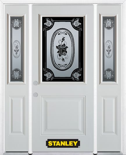 68-inch x 82-inch Mâtisse 1/2-Lite 1-Panel White Steel Entry Door with Sidelites and Brickmould