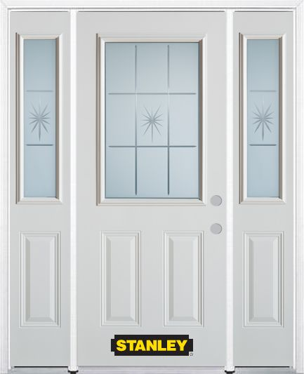 64-inch x 82-inch Beaujolais 1/2-Lite 2-Panel White Steel Entry Door with Sidelites and Brickmoul...