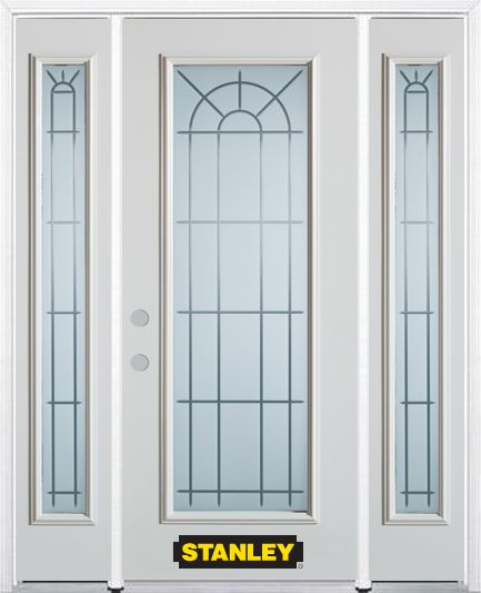 66-inch x 82-inch Chablis Full Lite Finished White Steel Entry Door with Sidelites and Brickmould