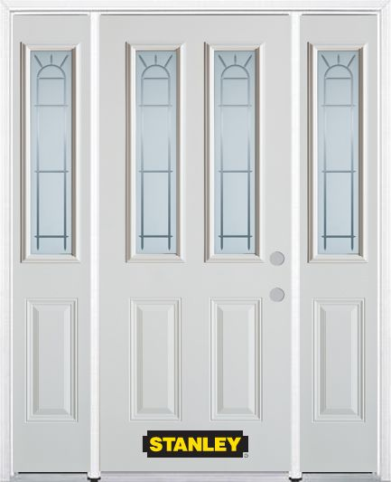 68-inch x 82-inch Chablis 2-Lite 2-Panel White Steel Entry Door with Sidelites and Brickmould