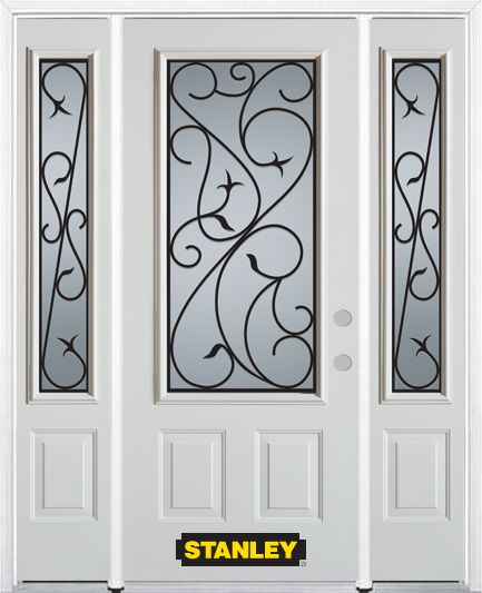 68-inch x 82-inch Borders 3/4-Lite 2-Panel White Steel Entry Door with Sidelites and Brickmould