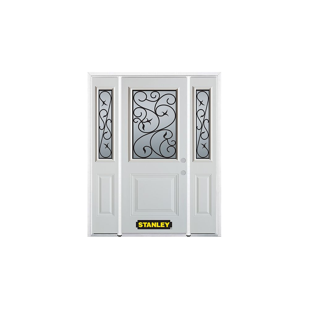 STANLEY Doors 68.5 inch x 82.375 inch Borduas 1/2 Lite 1-Panel Prefinished White Left-Hand Inswing Steel Prehung Front Door with Sidelites and Brickmould