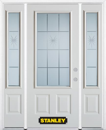 64-inch x 82-inch Beaujolais 3/4-Lite 2-Panel White Steel Entry Door with Sidelites and Brickmoul...