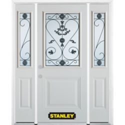 Stanley Doors 68.5 inch x 82.375 inch Blacksmith 1/2 Lite 1-Panel Prefinished White Right-Hand Inswing Steel Prehung Front Door with Sidelites and Brickmould