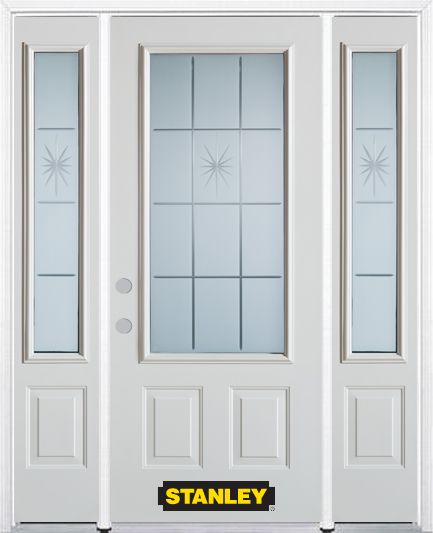 68-inch x 82-inch Beaujolais 3/4-Lite 2-Panel White Steel Entry Door with Sidelites and Brickmoul...
